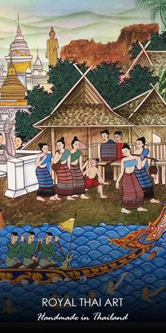 Thai traditional painting hand-painted by passionate artists from Thailand with Global shipping Southeast Asian Arts, Thai Design, Buddha Life, Thailand Art, Art For Sale Online, Thai Art, Thai Style, Buddhist Art, Traditional Paintings