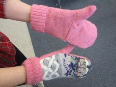 The DIY Sweater Mitten Making Mansion and Tutorial: A Blast From the Past: 2012   The Renegade Seamstress Renegade Seamstress, Work Boot Socks, Sweater Mittens, Knit Sneakers, Cool Sweaters, Refashion, Fingerless Gloves, Arm Warmers, The Past