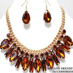 CLEARANCE  CRYSTAL ICE CHUNKY BROWN Necklace Set *CHIC AND TRENDY ACC
