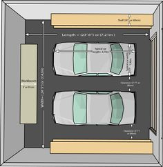 garage is in front of the drive way. big enough for two or three cars with a black door that opens upwards. large enough to walk comfortable in between the cars and the sides of the garage.
