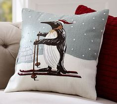 Penguin Crewel Embroidered Pillow Cover #potterybarn
