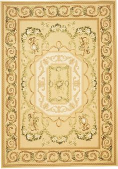 Tosca Aubusson Rug 5100GD. Based on an original painting by Elizabeth Moisan interpreting how Louis XVI Aubussons might have been rendered. On a yellow and cream background, spring green, wedding white and caramel browns gather to celebrate the romantic sun drenched hues of Tuscany. Made with ancient French Aubusson dyeing and weaving methods, this hand woven Aubusson flat weave rug has thousands of subtle color shades, similar to antique Aubusson rugs.
