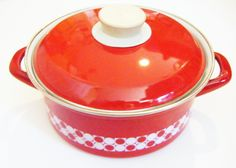 Vintage Enamelware Enameled Red And White Dutch Oven Double Handled Pot With Cover by parkledge on Etsy