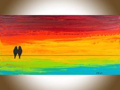 48 Rainbow color Abstract large wall art wall decor by QiQiGallery