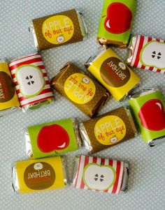 Apple Party PRINTABLE Mini Candy Bar Wrappers by Love The Day #PinAtoZ #apples