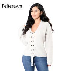 Feiterawn 2017 Autumn Women Sexy Fashion V Neck Tee Solid White Knitting Full Sleeve Casual T Shirt MN8035