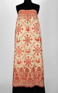 Russian Apron, 1830-1870. Depictions of the goddess are common in Russian embroidery, traditionally associated with fertility. Birds are associated with goddess worship for their proximity to divine beings through their home in the sky. This language of visual motifs originated in Pagan times and continued to be used in embroidery after the Christianization of Russia.