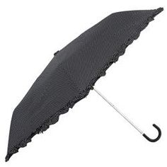 Tiny Dots Print With Ruffled Edge, Leather Handle Collapsible Umbrella