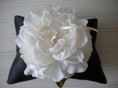 White Rose Ring Bearer Pillow by DaniCalve on Etsy