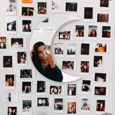 Room Inspiration⛓️ Wall Mounted Bathroom Furniture An interesting phenomenon has taken place over th Room Ideas Bedroom, Teen Room Decor, Room Decor Bedroom, Mirrors For Bedroom Wall, Bedroom Picture Walls, Bedroom Inspo, Dorm Room, Polaroid Wall, Polaroids On Wall