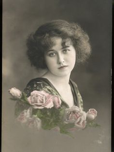 Beautiful Young Lady with Pink Roses ~ Photographic Print