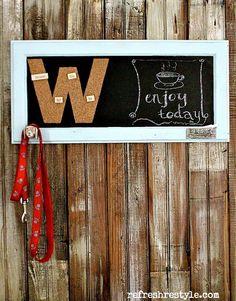 DIY Monogramed chalkboard - #upcycle #diyproject @Rhiannon Reid #corkboard #messagecenter