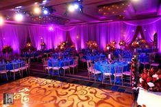 Purple, Orange, Blue Lighting Wedding Decor