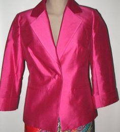 New TALBOTS Silk Blend 3/4 Sleeve Jacket - Vivid Pink - Size 6  #Talbots…