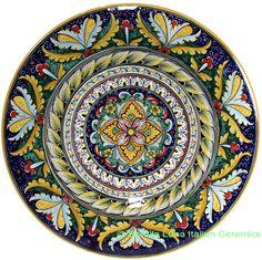 Italian Hand Painted Ceramic Majolica Plate | 42cm