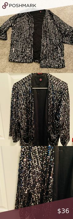Festival Black Gold Metallic Round Sequin Sheer Caftan with Tassels Kimono Top Cardigan Duster Disco One size Fit SML Plus Size