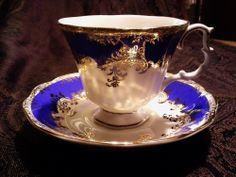 "Royal Albert "" Regina Series Sapphire "" Tea Cup & Saucer"