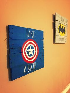 Superhero Bathroom Pallet Signs by SomeSouthernStyle on Etsy