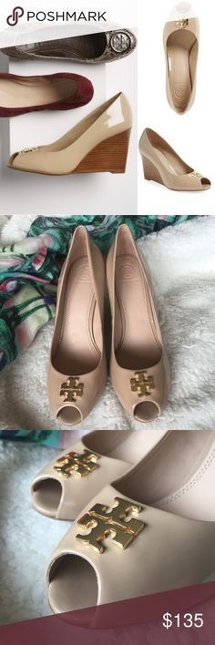 "NWOT Tory Burch // Jade Peep Toe Wedge A signature double-T logo adds a flash of gilt shine to the playful peep toe of a wardrobe-staple pump designed with a stacked wedge heel. These are new never worn but have two imperfections. There are some dark marks on the left shoe noted in pic 6, as well as a tiny waive in the patent leather by logo also on left shoe which is not really noticeable (pic 7). No box. No trades. 3"" heel  Leather upper and lining/rubber sole. Tory Burch Shoes Wedges"