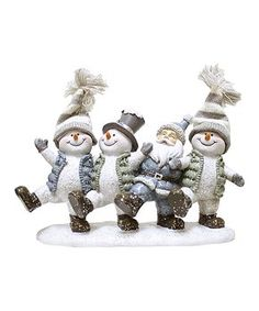 Bring a wintry-wonderful touch to your space courtesy of this piece depicting happy holiday snowmen. Dancing Santa, Santa Figurines, Happy Holidays, Bowser, Snowman, Cheer, Great Gifts, Teddy Bear, Invitations