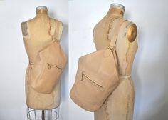 Coach Sling Bag / backpack bookbag / cream leather body tote by badbabyvintage on Etsy