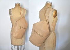 Coach Sling Bag / backpack bookbag / cream leather body tote by badbabyvintage on Etsy