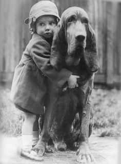 "Child and bloodhound by William Vanderson, 1935. ""Dogs love company. They place it first in their short list of needs."" - J. R. Ackerley. °"