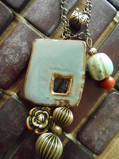 Ceramic Jewelry Charm Pendant Vintage beads necklace