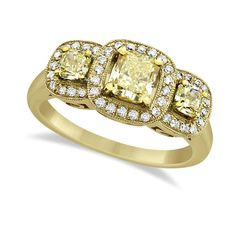 3-Stone White & Yellow Diamond Engagement Ring 18k Yellow Gold 1.15ct ($3,120) ❤ liked on Polyvore