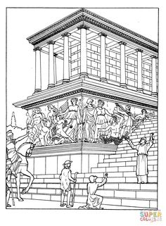 Great Altar Of Zeus At Pergamum Coloring page from Sightseeing category. Select from 20820 printable crafts of cartoons, nature, animals, Bible and many more. Colouring Pages, Adult Coloring Pages, Coloring Books, Printable Crafts, Printables, Egyptian Drawings, Ancient Greek Art, Greek History, Free Printable Coloring Pages