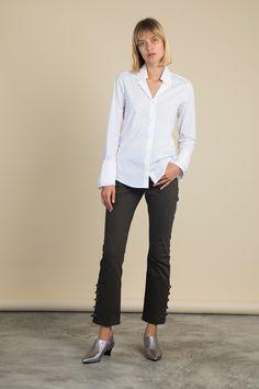 Reba Wrap Sleeve Poplin Shirt Palmer Harding, Poplin, Fitness Models, Normcore, Product Description, Sleeves, Fabric, Cotton, Pants