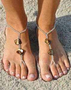 Gold Shell Barefoot Sandals. These would be great to wear for vacationing.