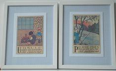 2 quadros. Cópias de ilustrações antigas e trabalho em tecido.