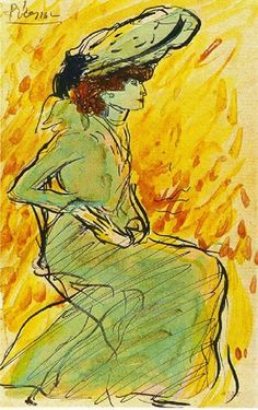 Pablo Picasso! Seated woman in green, 1901