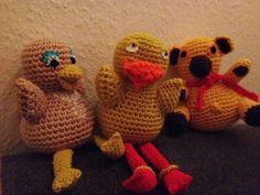 """Så er de 3 venner fra """"Bamse og Kylling"""" samlet:        Ja de ligner en hjemmegjort udgave men det er de også ;-) glæder mig til A skal h..."""