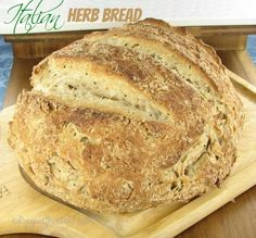 Crusty herbed Italian bread - fresh from the oven