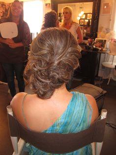 Updo by flawlessfacesinc.com Bride, bridal hair, 1/2 up 1/2 down, side swept, hair style, wedding, wedding day hair, wedding dress, undo, side bun