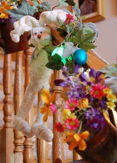 Easter decorations. A fun Easter stair railing.