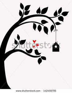 Doodle tree with birds in love and nesting box.