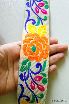 Beige Fabric Trim With Orange Rose Floral Embroidery Trim, Approx. 50mm wide…