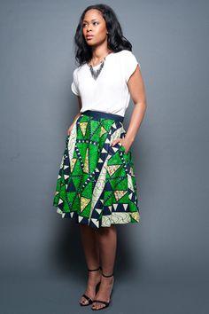 Green a-line Ankara skirt