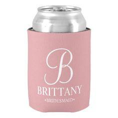 #bridesmaid - #Elegant Blush Pink Personalized Bridesmaid Can Cooler