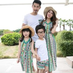 $25.50 Wholesale Print Dress & Tee With Short Beach Family Set #onlinefashion #onlineshopping #onlineshoppingmalaysia