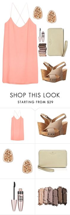 """Peachy Keen// Mackenzie"" by preppygirls232 ❤ liked on Polyvore featuring MANGO, Lucky Brand, Kendra Scott, Kate Spade, Maybelline and Urban Decay"