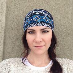 Blue Tribal Fabric Wrap Head Wrap Headband OR Turban on Etsy, $10.99