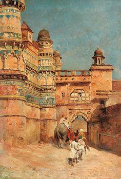 Edwin Lord Weeks - The Hathi Pol (Elephant Gate) Gwalior Fort Islamic Paintings, Indian Art Paintings, Abstract Paintings, Oil Paintings, Carl Spitzweg, Empire Ottoman, Middle Eastern Art, India Painting, Arabian Art