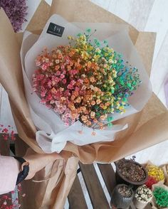 Reminds me of my bouquet hehe Bunch Of Flowers, Little Flowers, Dried Flowers, Beautiful Flowers, Bouquet Wrap, Rainbow Flowers, Flower Aesthetic, Flower Boxes, Planting Flowers