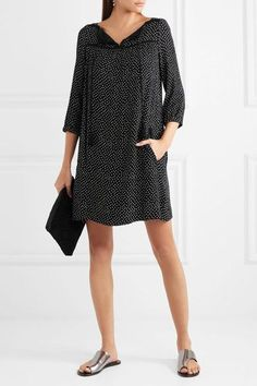 A.P.C. Atelier de Production et de Création - Embroidered Polka-dot Crepon Mini Dress - Black - FR34