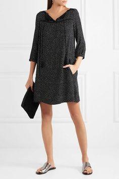 A.P.C. Atelier de Production et de Création - Embroidered Polka-dot Crepon Mini Dress - Black - FR34