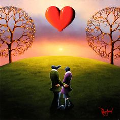 'Happy Ever After' An original Oil painting on board by artist David Renshaw. From the Northern Romance Collection, featuring Ted and Doris!  Available at Wyecliffe Galleries: http://wyecliffe.com/collections/david-renshaw-original-art/products/happy-ever-after-david-renshaw #wyecliffe